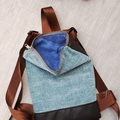 Fabric and faux leather backpack