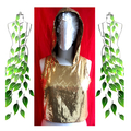 Gold mini sequin hooded festive top. Size M and AU size 12. Free postage. Vegan