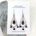 Black Crystal Chandelier Earrings with Sterling Silver 925 Earring Hooks