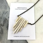 White Howlite Spike Pendant on Long Bronze Chain