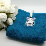 Kitchen Hand Towel, with Cute Zebra Face, Machine Embroidered, with Hanging loop