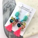 Crystal Tassel Statement Earrings with Sterling Silver 925 Earring Hooks