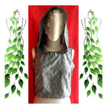 Metallic silver and grey lace hooded festive top. Size M and AU size 12. Vegan.