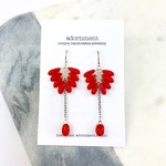 Red Coral Drop Earrings with Sterling Silver 925 Earring Hooks