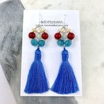 Coral and Blue Tassel Earrings with Sterling Silver 925 Earring Hooks