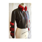 Textured black faux leather jacket with faux red fur trim. Size S/M AU 10/12.