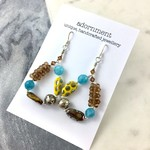 Statement Earrings with woven crystal  beads and Sterling Silver Earring Hooks