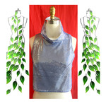 Silver sequins on blue & white festive top. Size S AU 10. Free fall collar.
