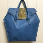 Blue Leather Hand Bag in Hexagon Shape