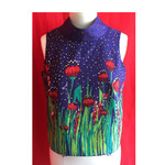 Retro Tulip themed printed top. Size M and AU Size 12. Eco Designer vegan