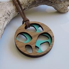 Double Layer Pebble Wooden Pendant