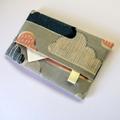 Travel Tissue Case, Pocket Tissue Holder - Pastel clouds on grey.