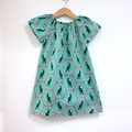 dress - green Australian magpie / cotton boho peasant-style / 2-3 years