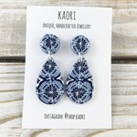 Handcrafted polymer clay stud dangle earrings in mosaic blue