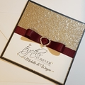 Burgundy & Gold Glitter Wedding Card - Personalised