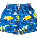 "Size 3 ""Cement Trucks and Diggers"" shorts"