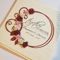 Cream Wedding Card with deep red, pink & off white accents - Personalised