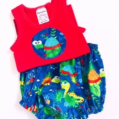 "Sizes 1 to 3 Months  ""Turtles & Lizards"" Nappy Pants & Singlet"