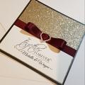 Burgundy & Gold Glitter Wedding Card - Personalised