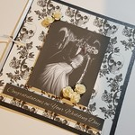 Gothic White & Black Wedding Card - Personalised with Names Skulls & Roses Theme