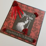 Gothic Red & Black Wedding Card - Personalised with Names - Skulls & Roses Theme