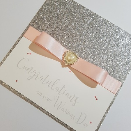 Silver Glitter & Pink Wedding Card - Personalised