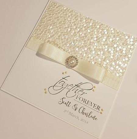 White & Off White/Cream Wedding Card - Personalised