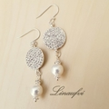 Earring - Pearl - Crystal - Sterling Silver Hook - Classic - Pretty - E039