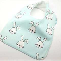Baby Dribble Bib, Easter Bunny Cotton  Fabric, Bamboo Toweling, Snap Fastened.