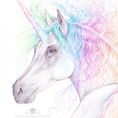 8x10 inch PRINT Rainbow Unicorn Art Pencil Colour Drawing Kids Room Wall Art