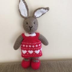 Valerie Bunny Hand knitted Valentine Toy Softie
