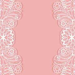 SET OF 6 X 89 X 120.7MM PINK AND WHITE LACE WINE BOTTLE LABELS
