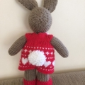 Valerie Bunny Hand knitted Valentine Toy Softie