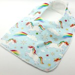 Baby Infant Bib, Unicorn Cotton Fabric and Bamboo, Snap Fastened.