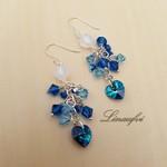 Earring - Blue - Swarovski - Sterling Silver Hook - Cluster - Pretty - E038