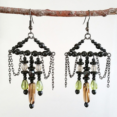 Long Chandelier Statement Earrings | Glass Bead | Vintage Green Boho Style