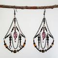 Long Chandelier Drop Earrings   Beaded Statement Earrings   Vintage Boho Style