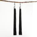 Extra Long Black Drop Tassel Earrings | Boho Style | Slimline & Elegant