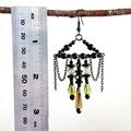 Long Chandelier Statement Earrings | Glass Bead | Vintage Green Boho Style