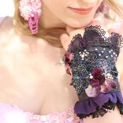 Beaded cuff, Purple goth cuff Boho cuff bacelet