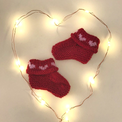 Valentine Heart  Booties - Hand knitted in Pure Wool