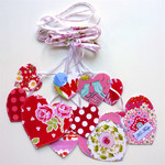 Pink Hearts Garland, Mother's Day, Bridal Shower, double-sided fabric