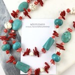 Red coral, turquoise, howlite and crystal long chunky necklace