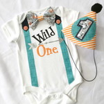 Wild One Boys First Birthday Bow Tie Onesie & Party Hat Set