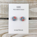 Handcrafted polymer clay stud earrings- white, blue and pink floral