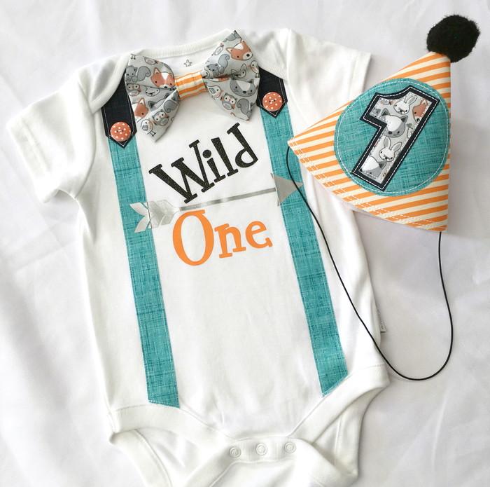 Wild One Boys First Birthday Bow Tie Onesie Party Hat Set