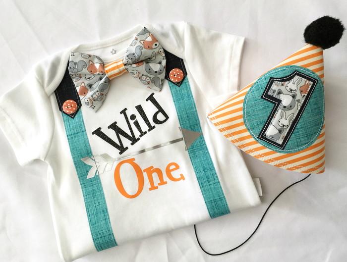 Wild One Boys First Birthday Bow Tie Onesie Party Hat