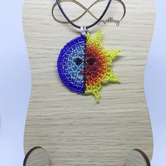 Sun and Moon Beaded Pendant Necklace Boho Sky Yellow Blue Red Orange Planet
