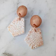 Geo earrings, white with copper foil statement drop earrings