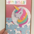 Unicorn birthday card  - handmade party- free Aus Post